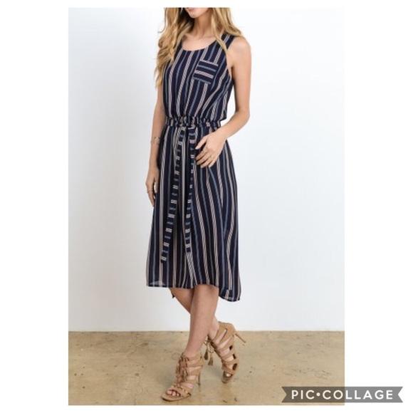 Doe & Rae Dresses & Skirts - Doe & Rae Navy Striped High Low Dress
